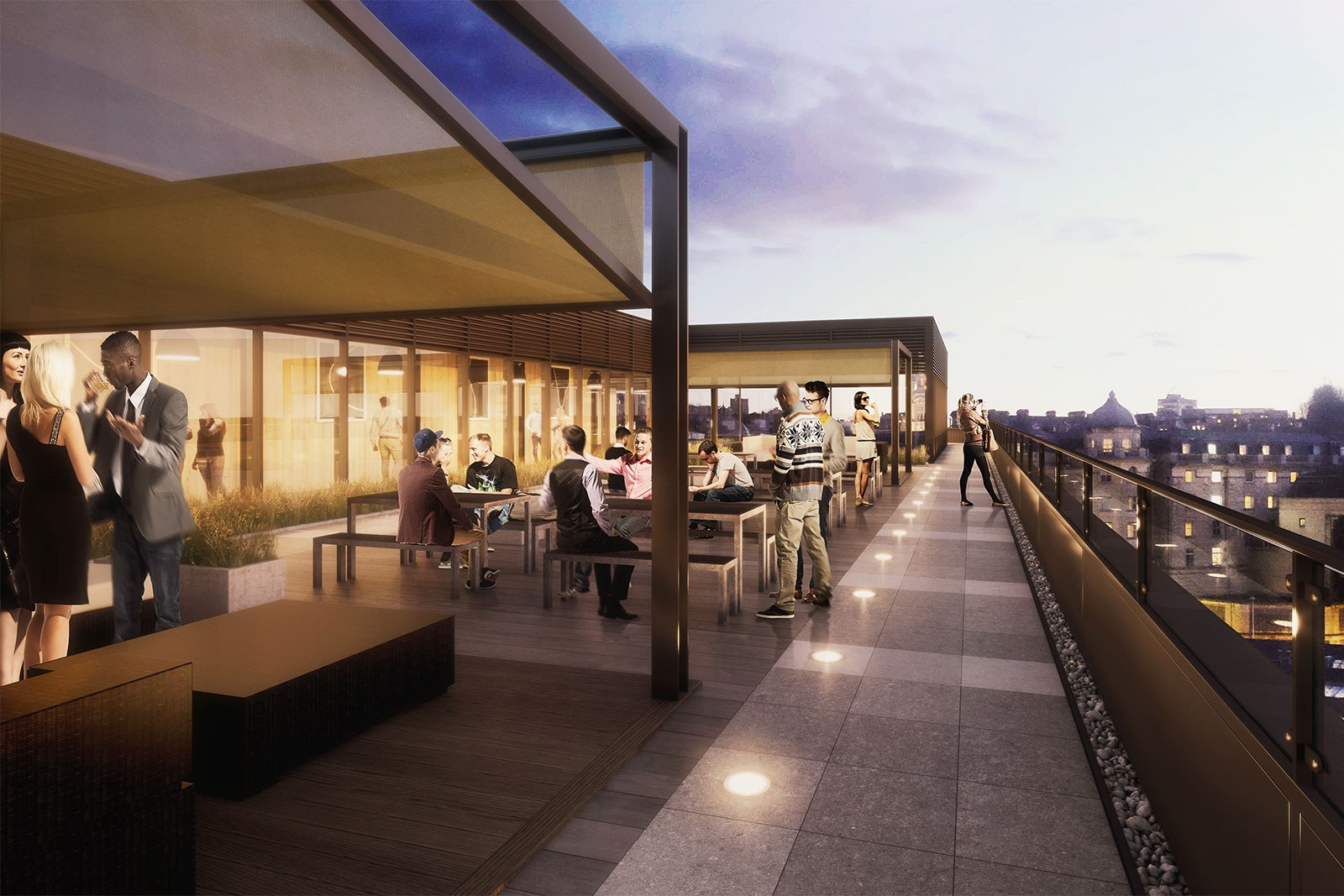 Assembly Bristol: Building A: Roof Terrace at night